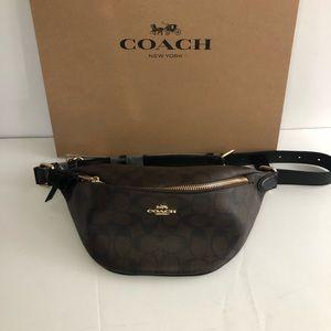 Authentic Coach Signature Brown/Black Belt Bag NWT